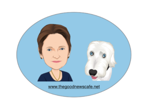 Caricature of Cate and Rufus the Old English sheepdog