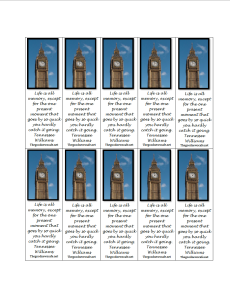 Page of bookmarks with Big Ben and quote